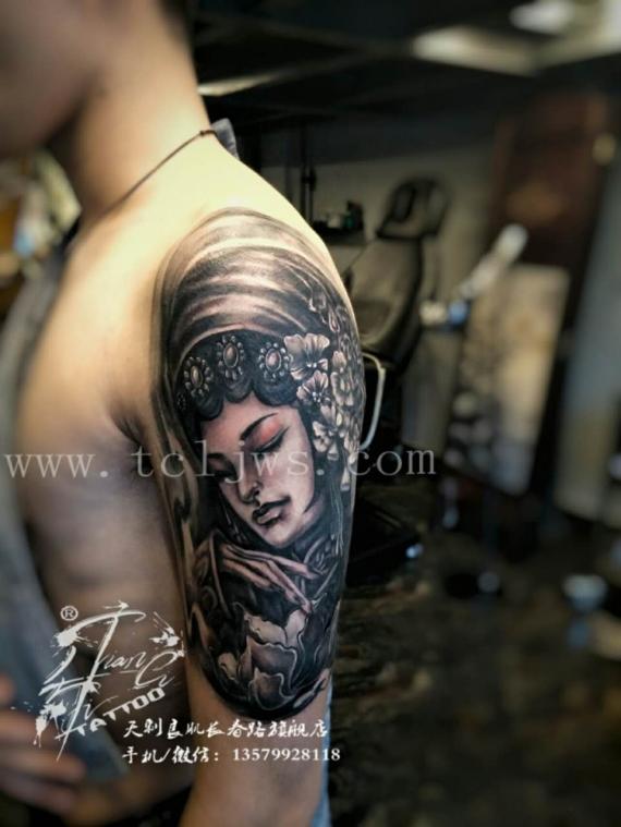 新疆纹身刺青【人物花旦】含有遮盖部分