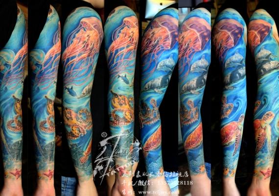 海洋世界花臂纹身图案