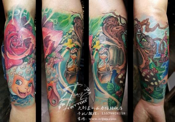 欧美卡通包小臂纹身图案