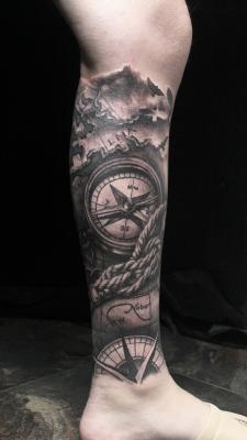 小腿晚上 欧美写实纹身