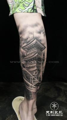 小腿日式纹身 古楼纹身