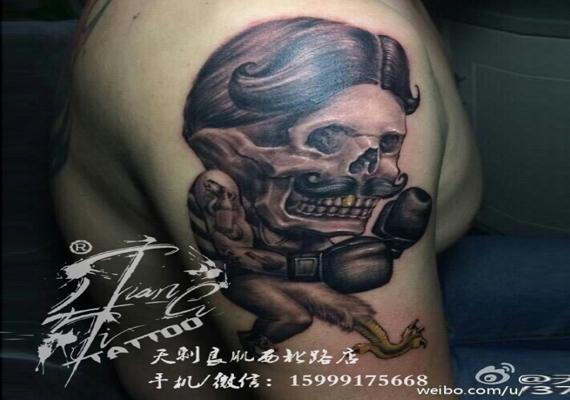 博乐骷髅纹身作品