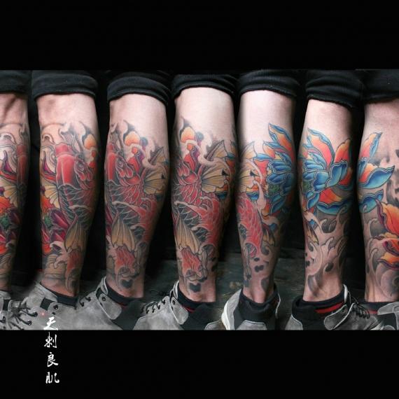 克拉玛依小腿鲤鱼纹身